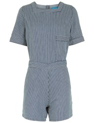 Mih Jeans Blue Striped Denim Biarritz Playsuit