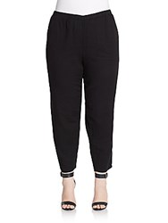 Eileen Fisher Plus Size Tapered Organic Cotton Pants Black