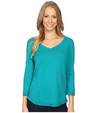 Mod O Doc Supreme Jersey Seamed V Neck Long Sleeve Tee Dark Jade Women's T Shirt Green