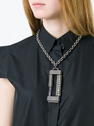 Lanvin Oversized Pendant Necklace Metallic