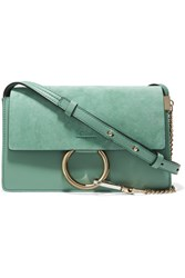 Chloe Faye Small Suede And Leather Shoulder Bag Mint