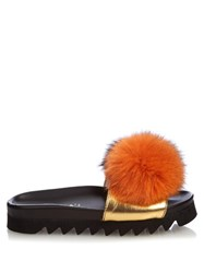 Joshua Sanders Fur Pompom Platform Slides Black Orange