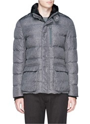 Armani Collezioni Fur Trim Stand Collar Wool Print Puffer Jacket Grey