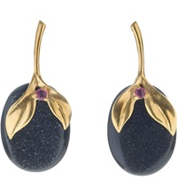 Annoushka Drusy 18Ct Yellow Gold Onyx And Ruby Earrings