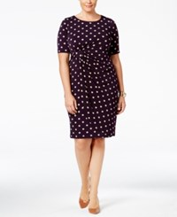 Connected Plus Size Polka Dot Faux Wrap Sheath Dress Dark Amethyst