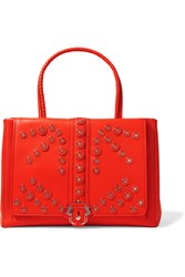 Paula Cademartori Daisy Embellished Leather Tote Orange