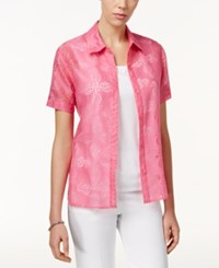Alfred Dunner Tank Inset Patterned Shirt Flamingo