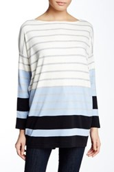 Joan Vass Bracelet Sleeve Striped Tee Multi