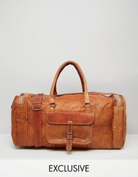 Reclaimed Vintage Leather Holdall In Tan Brown