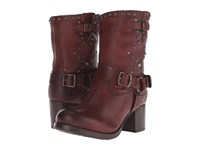 Frye Vera Stud Moto Short Dark Brown Washed Antique Cowboy Boots