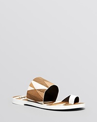 Tory Burch Flat Toe Ring Slide Sandals Kempner White Mosaico