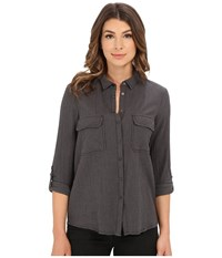 Mavi Jeans Button Down Shirt With Check Pockets Griffin Check Women's Long Sleeve Button Up Gray