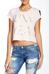 Rebel Yell Um Yea Classic Crop Tee Pink