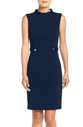 Ellen Tracy Women's Mock Neck Ponte Sheath Dress Ink