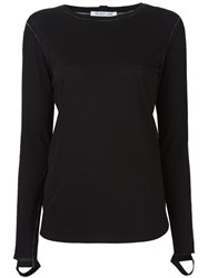 Helmut Lang Cut Out Sleeve Top Black