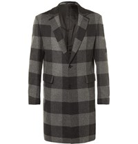 Casely Hayford Wentworth Checked Wool Overcoat Gray