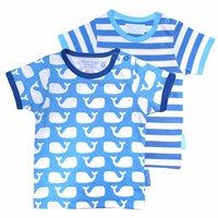 Toby Tiger Whale Short Sleeve T Shirt 2 Pack White Blue