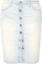 Current Elliott The Dotty Distressed Stretch Denim Skirt Light Denim