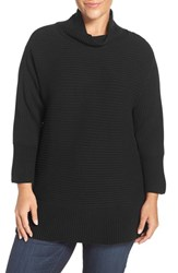 Vince Camuto Plus Size Women's Ribbed Cotton Blend Turtleneck Sweater Rich Black