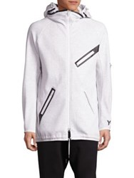 Y 3 Drawstring Hem Hooded Jacket Snow Melange