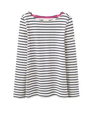 Joules Long Sleeve Jersey Striped Top Cream