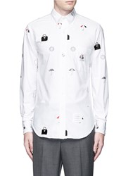 Thom Browne Travel Icon Embroidery Hopsack Shirt White