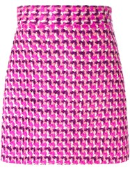Msgm Tweed A Line Skirt Pink And Purple