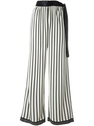 Jean Paul Gaultier Vintage Striped Palazzo Trousers White