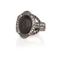 River Island Womens Dark Silver Tone Diamante Ring