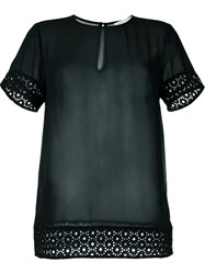 Michael Michael Kors Embroidered Sheer Blouse Blue