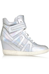 Ash Beck Perforated Metallic Leather Wedge Sneakers