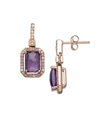 Lord And Taylor Amethyst Diamond 14K Rose Gold Drop Earrings