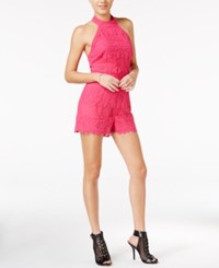 Guess Lexie Lace Halter Romper Beetroot Purple