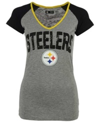5Th And Ocean Women's Pittsburgh Steelers Sequin T Shirt Gray Black