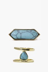 Boohoo Marble Stone Ring Pack Gold