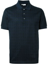 Brioni Grid Pattern Short Sleeve Polo Shirt Blue