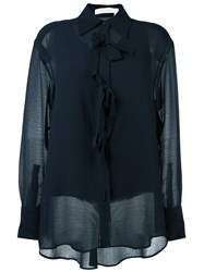 See By Chloe Bow Applique Sheer Shirt Blue