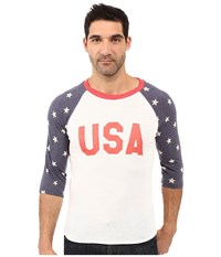 Alternative Apparel Printed Baseball Tee Usa Print Stars Men's Short Sleeve Pullover White