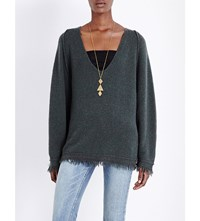 Free People Irresistible V Neck Knitted Jumper Green