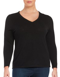 Lord And Taylor Plus Merino Wool V Neck Sweater Black