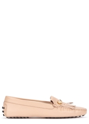 Tod's Gommino Peach Fringed Leather Driving Shoes