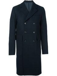 Officine Generale Double Breasted Coat Blue