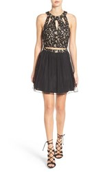 Speechless Women's Lace And Chiffon Two Piece Skater Dress