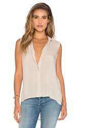Bella Dahl Sleeveless Folded Yoke Shirt Beige