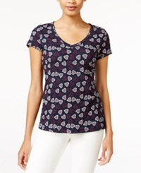 Maison Jules Printed V Neck T Shirt Only At Macy's Navy Stone Combo