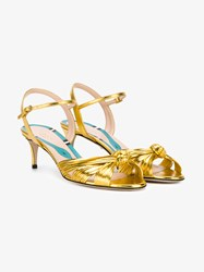 Gucci Metallic Leather Sandal With Knot