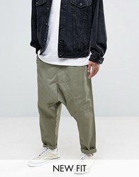 Asos Drop Crotch Joggers With Drawcords In Khaki Burnt Olive Green