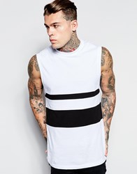 Asos Sleeveless T Shirt With Dropped Armhole And Monochrome Panels In Relaxed Fit White