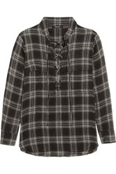 Madewell Terrace Lace Up Plaid Flannel Shirt Anthracite
