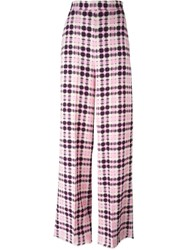 Msgm Plaid Wide Leg Palazzo Trousers Pink And Purple